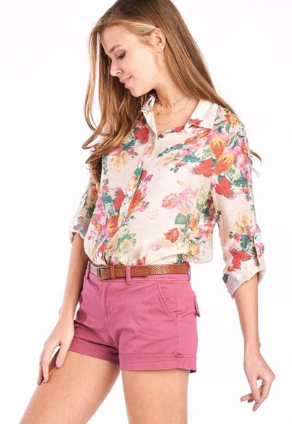 Cream Floral Button Down Top