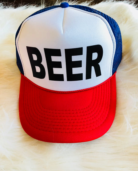 """BEER"" Trucker Hat in Red White Blue with Black Lettering"