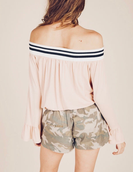 Blush Striped Off The Shoulder Bell Sleeve Top
