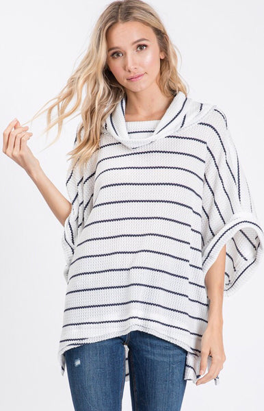 Black and White Striped Cowl Neck Sweater