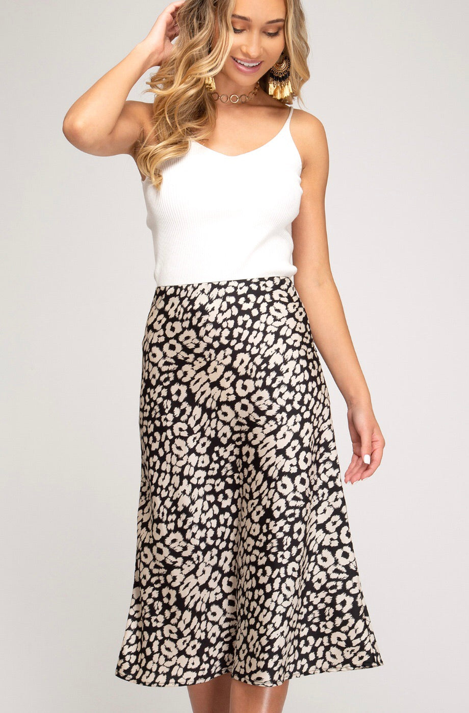 Black and White Satin Leopard Skirt with Elastic Waist