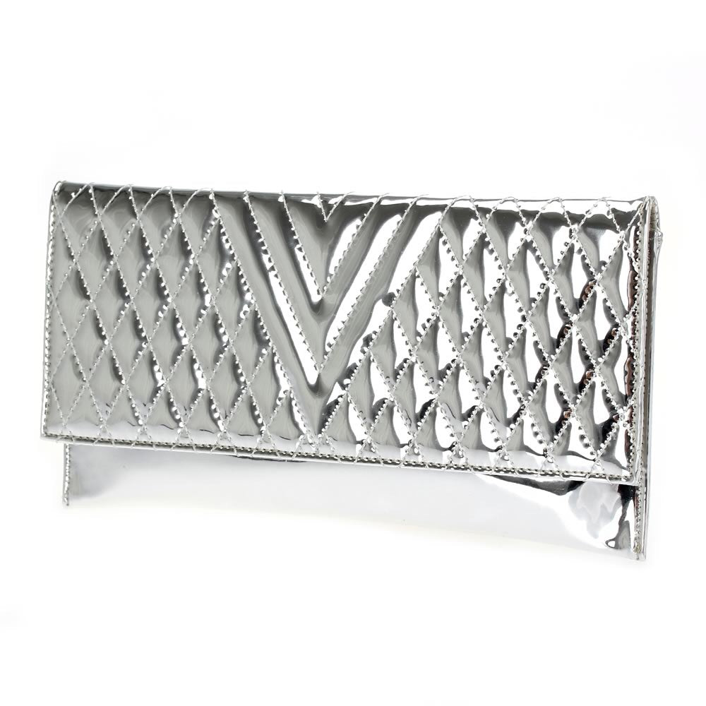 Quilted Metallic Silver Clutch with Detached Chain