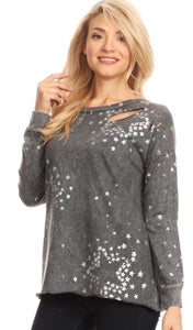 """Star Lifestyle"" Distressed Sweatshirt"