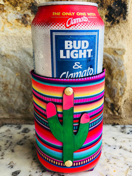 Serape Koozie with Leather Cactus