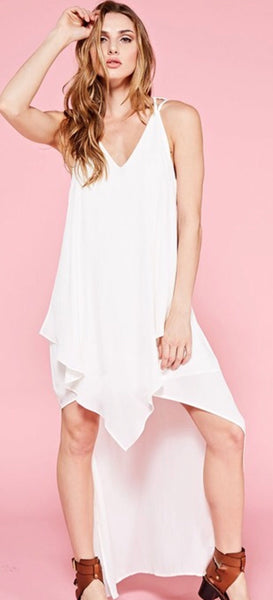 """Evey"" White High Low Tank Dress"