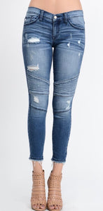 """The Luxe Edition"" Distressed Moto Jeans"
