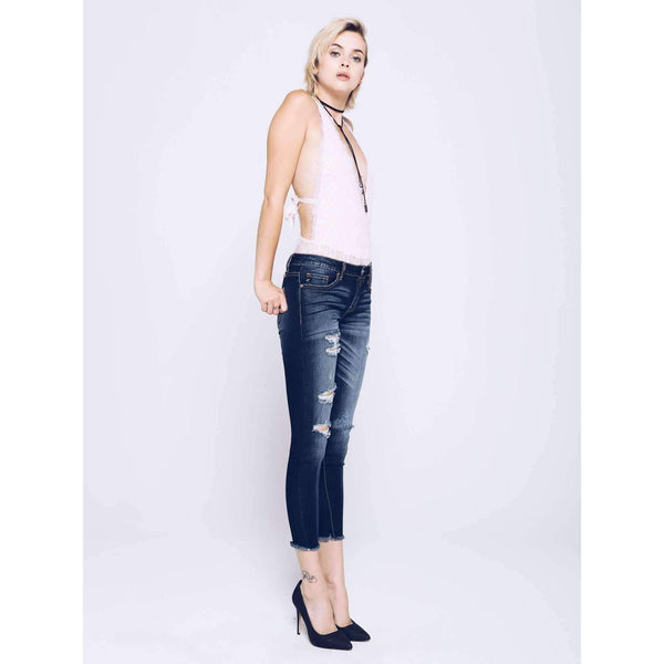 """Blair"" Dark Distressed Ankle Jean"