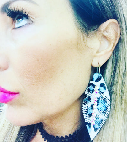 Metallic Light Blue Leather Feather Earrings
