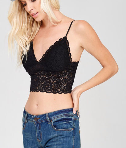 Black Lace Padded Bralette with Adjustable Straps