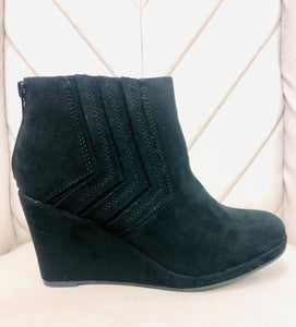 """Stella"" Black Suede Wedge Bootie"