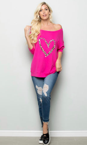 """Hey Lover"" Fuchsia Long Sleeve Heart Tee"