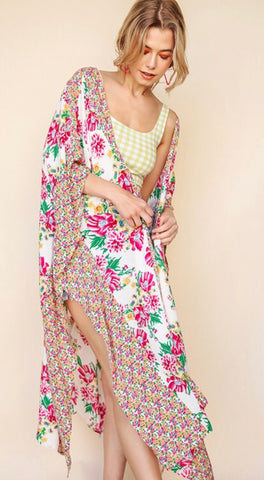 """Phoebe"" White and Hot Pink Floral Kimono with Slits"