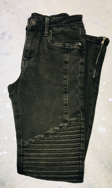 Stretch Denim Moto Jean with Zipper on Ankle