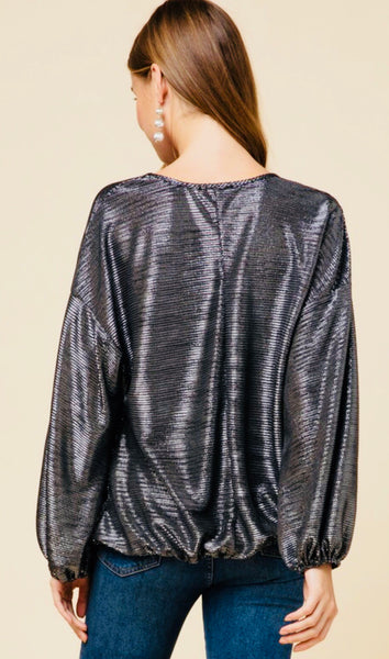 """Let's Sparkle"" Balloon Sleeve VNeck Top"