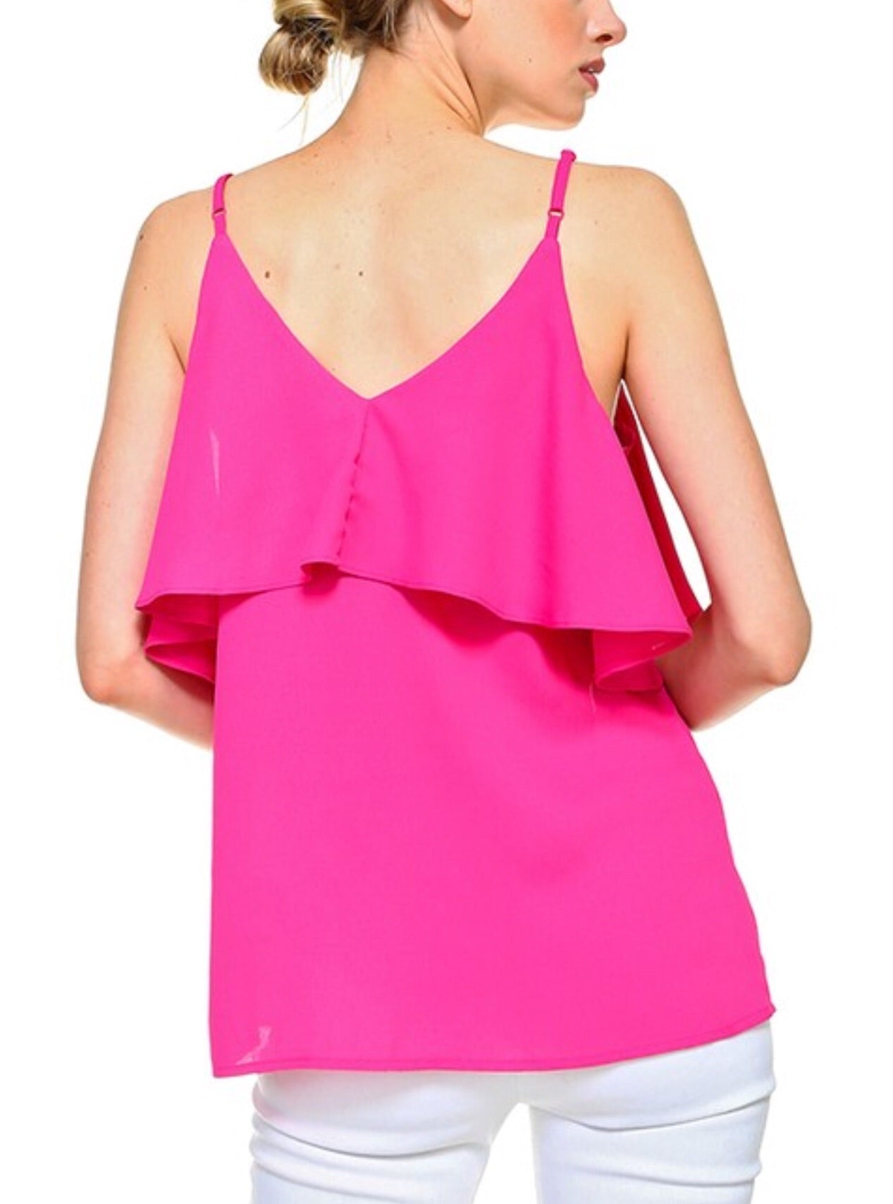 Hot Pink Ruffle Layer Top with Adjustable Straps