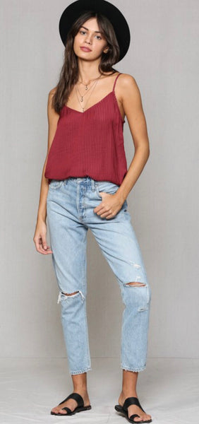 Wine Burnout Striped Cami