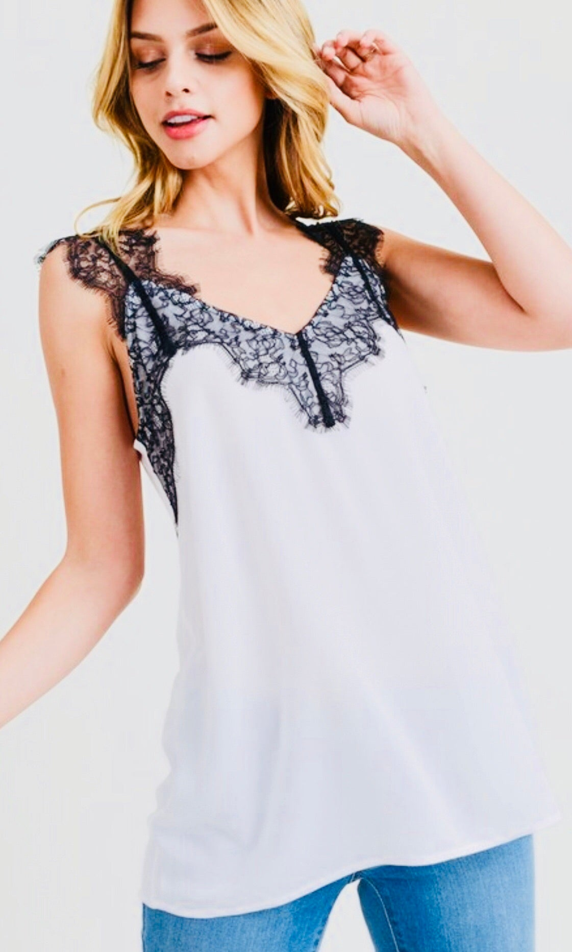 """Selene"" White with Black Lace Cami Top"