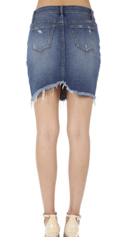"""Girl Gang"" Medium Denim Mini Skirt with Fray"