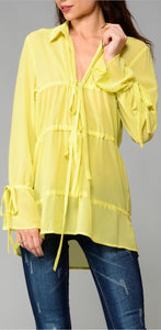 """Bryn"" Yellow Serenity Top"