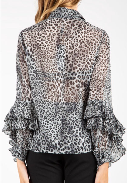 Grey Leopard Ruffle Top