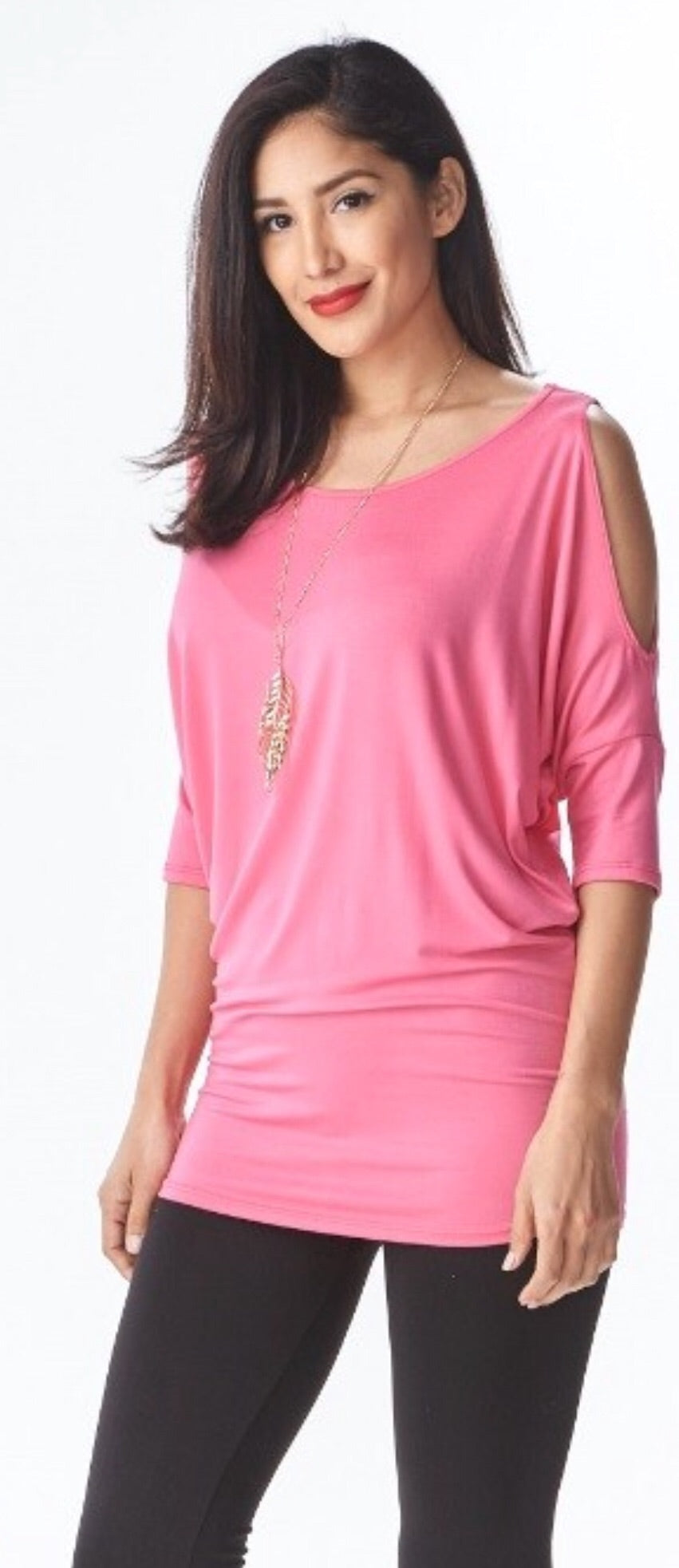 Fuchsia Cold Shoulder Tee