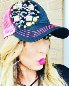 Hot Pink Trucker Bling Hat with Quilted Front Panel