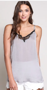 """Lovin Lace"" Silver Cami with Adjustable Straps"