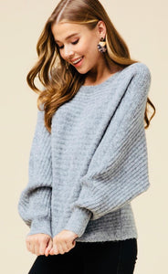 Grey Dolman Sleeve Sweater