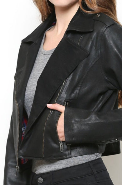 """Harper"" Black Cropped Moto Faux Jacket with Stretch"