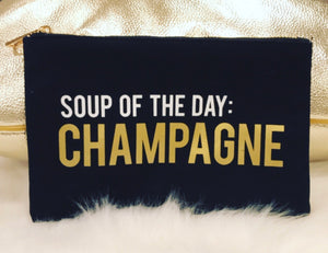 """Champagne"" Cosmetic Bag with Zipper"
