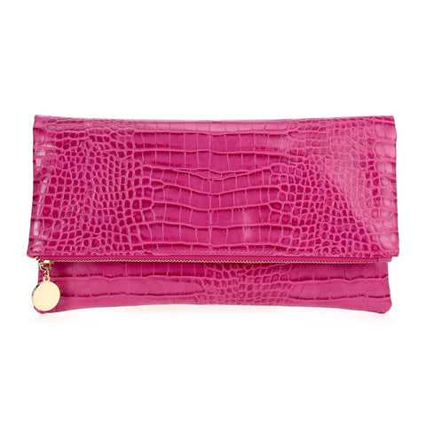Fuchsia Crocodile Print Fold Over Clutch