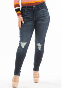 """The Weekender"" ""Curvy"" Distressed Dark Jeans"