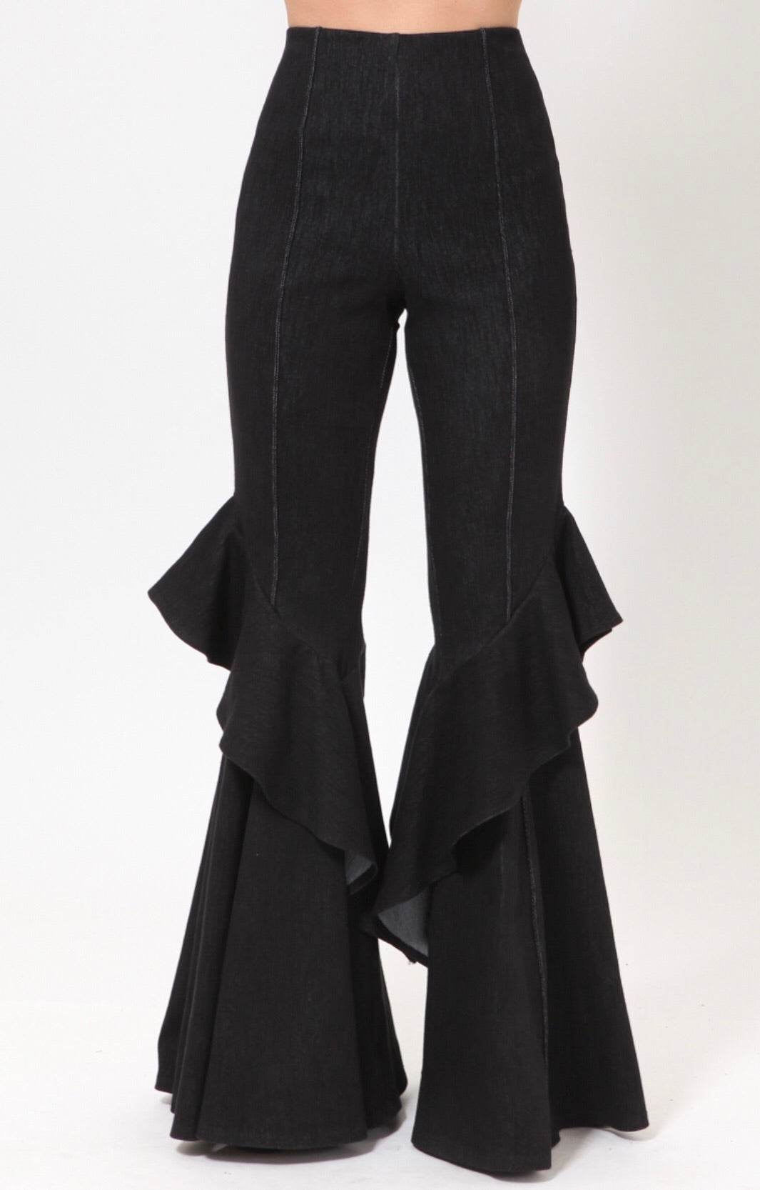 Black High Waist Stretch Ruffle Pants