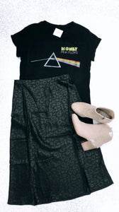 Black Leopard Satin Skirt