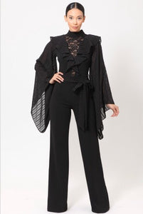 Black Lace Bell Sleeve Ruffle Jumpsuit