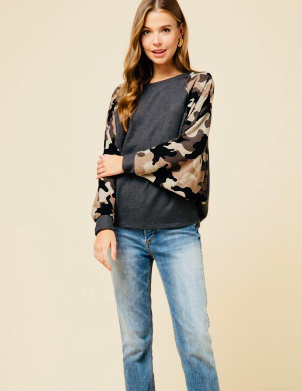 """Brielle"" Camo Fleece Sweatshirt with Dolman Sleeve"