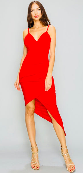 Red Asymmetrical Midi Dress