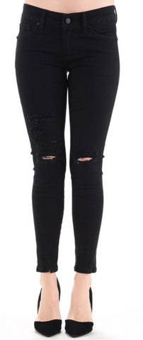 """The Malibu"" Black Distressed Ankle Jeans"