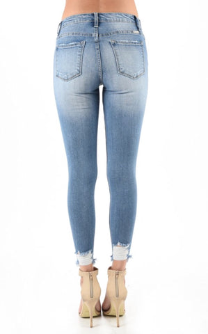 """ADDICTED To You"" Distressed Rhinestone and Pearl Embellished Ankle Jeans"