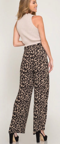 Leopard Print Wide Leg Pants with Sash