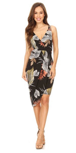 """Hawaiian Tropic"" Asymmetrical Wrap Dress"