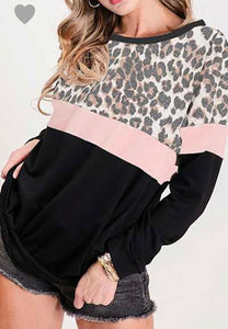 Leopard Sweatshirt with Pink and Black