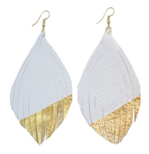 """24 Karat Gold"" Dipped Feather Earrings"