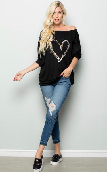 """Hey Lover"" Black Long Sleeve Heart Tee"