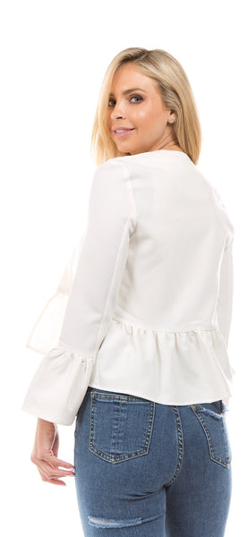 Off White Ruffle Stretch Blazer