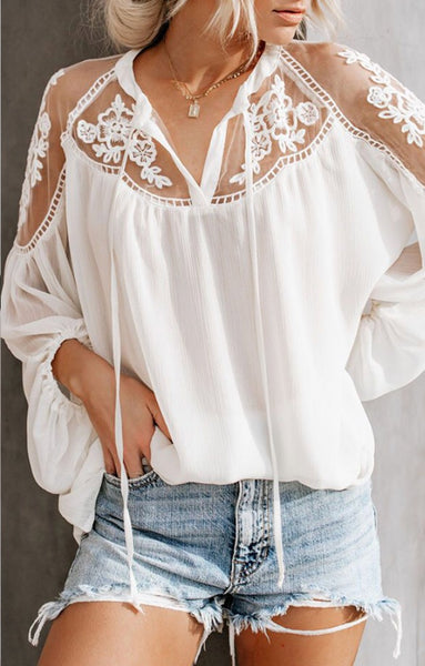Off White Embroidered Lace Flowy Top