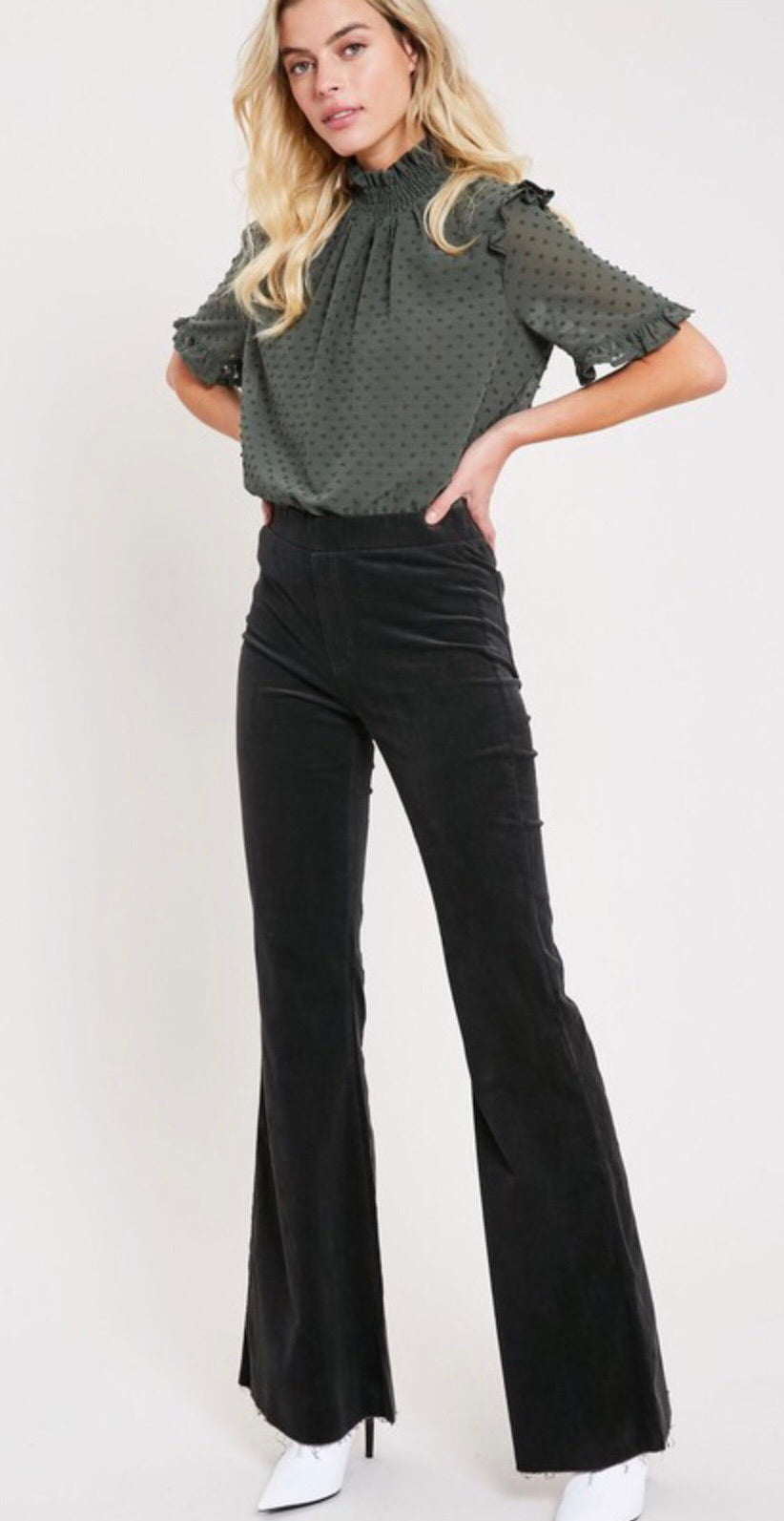 Charcoal Corduroy Stretchy Flares with Raw Edge