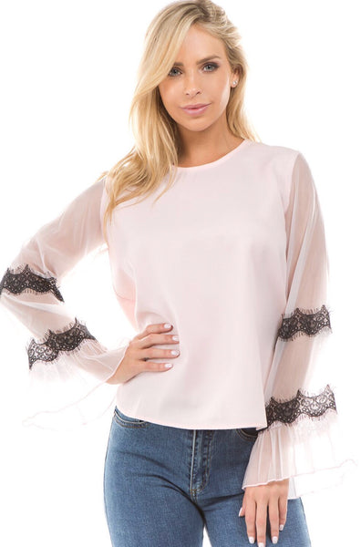 Pink and Lace Sheer Sleeve Top