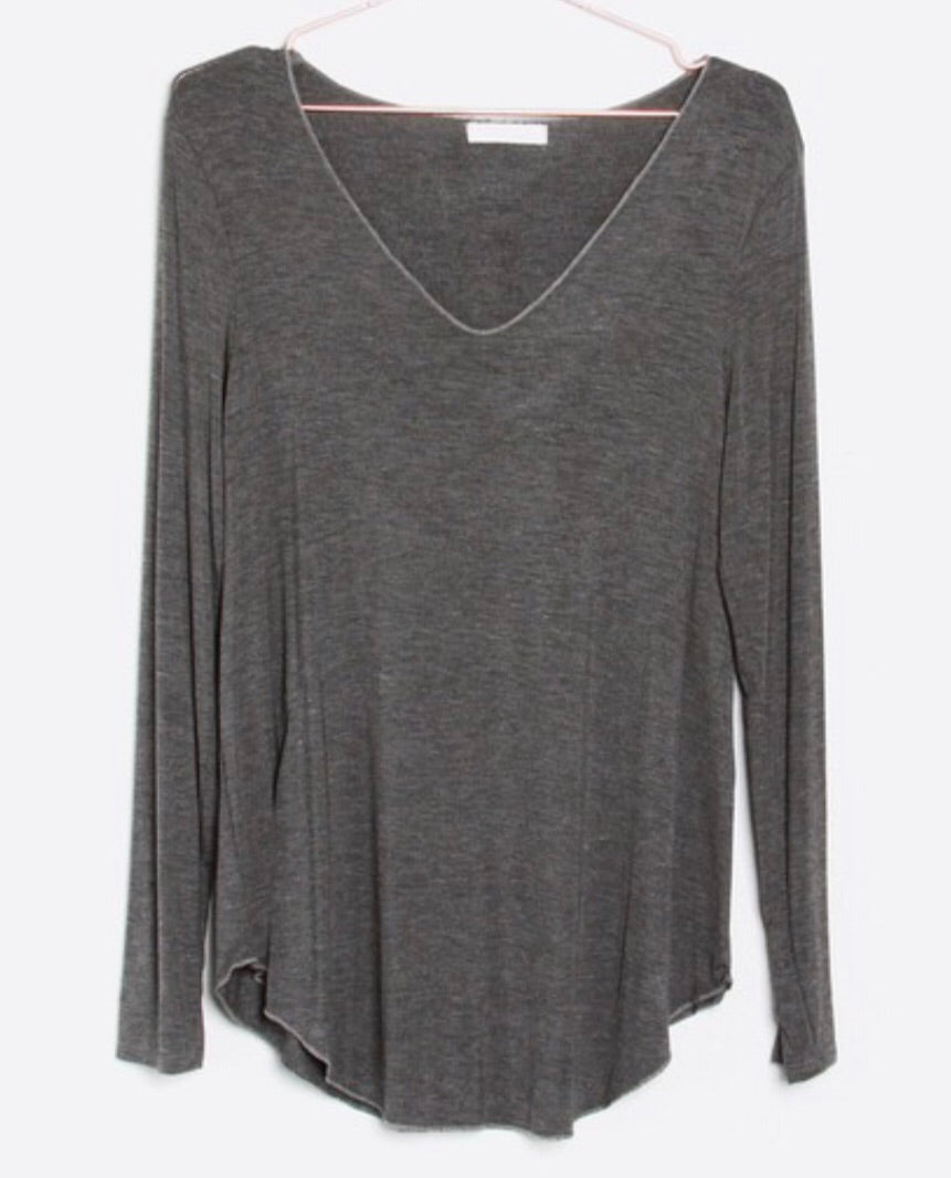 Grey VNeck Long Sleeve Tee