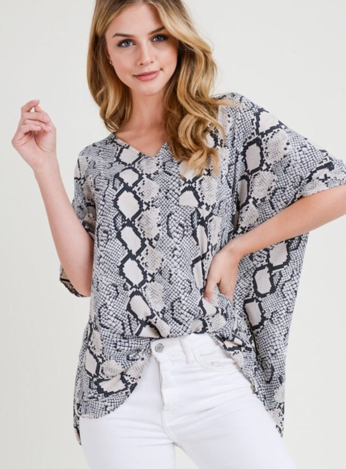 Grey Snake V Neck Flowy Top